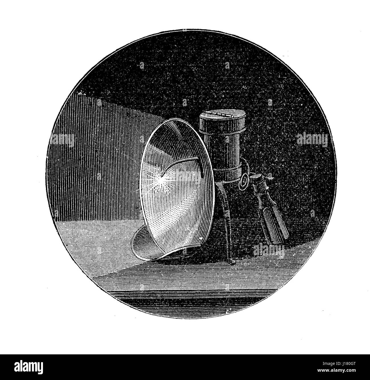 Magnesium light from late XIX century, when burning in air, magnesium produces a brilliant white light - Stock Image
