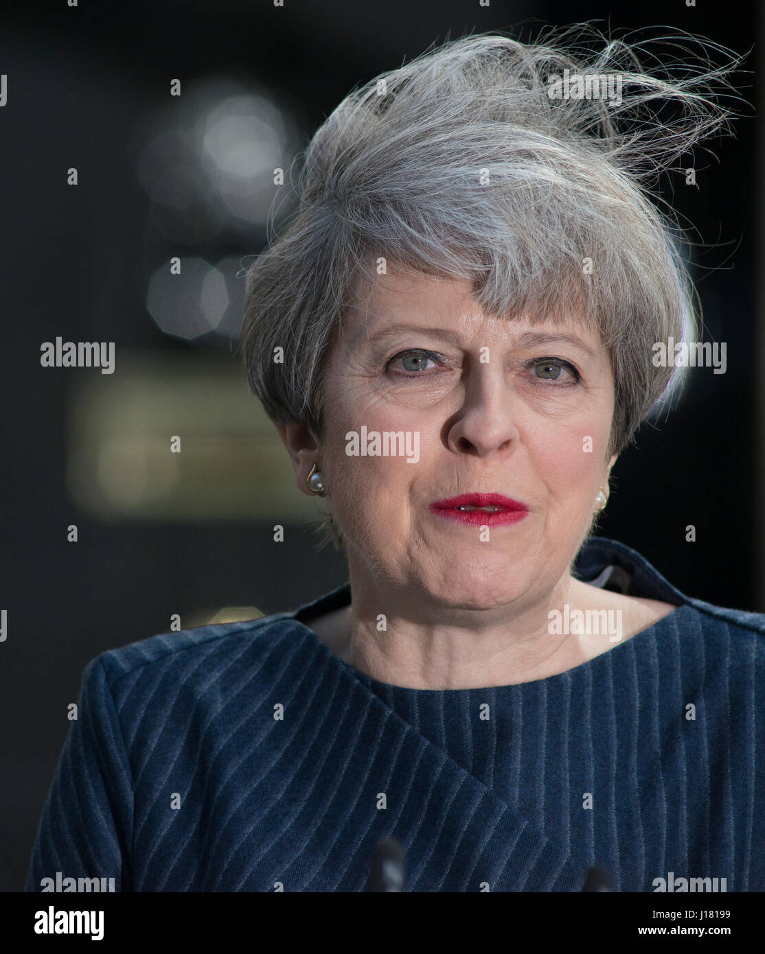 Downing Street, London UK. 18th April, 2017. PM Theresa May announces snap general election for 8th June 2017. Credit: - Stock Image