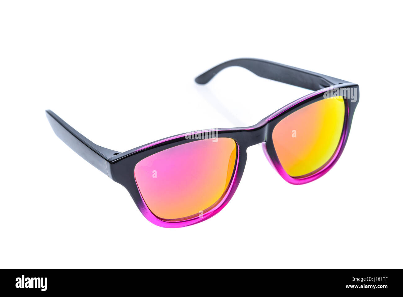 Fashion Children sunglasses, sun shades or spectacles isolated on white background. Color child glasses protection from sun and UV rays. Concept of su Stock Photo
