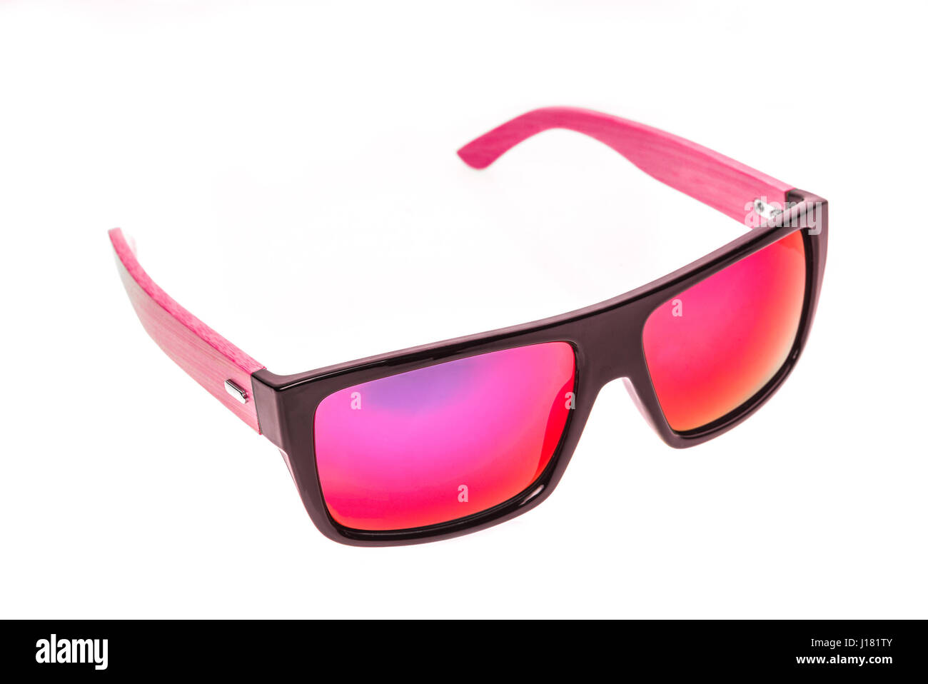 Color Children sunglasses, sun shades or spectacles isolated on white background. Color child or adoult men or woman glasses protection from sun and U Stock Photo