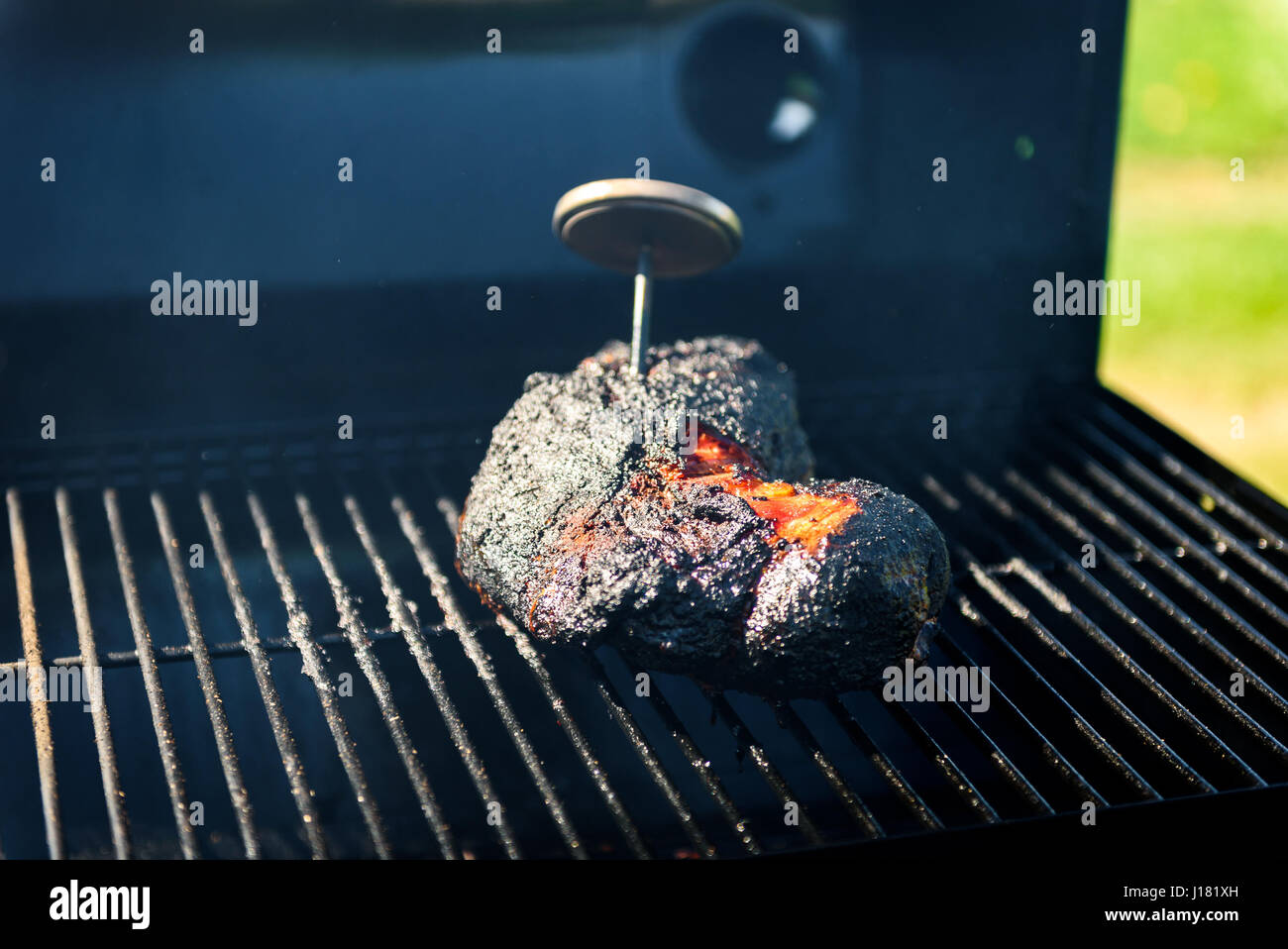 family backyard barbecue - BBQ picnic. Checking the correct temperature with meat thermometer. - Stock Image