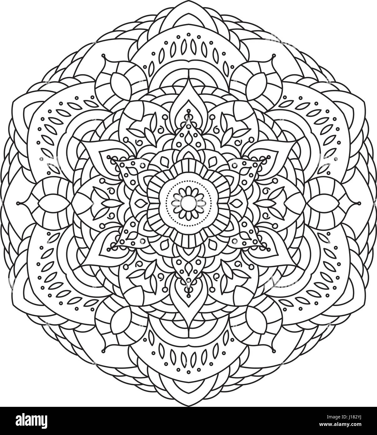 Coloring Book Mandala. Circle lace ornament, round ornamental ...