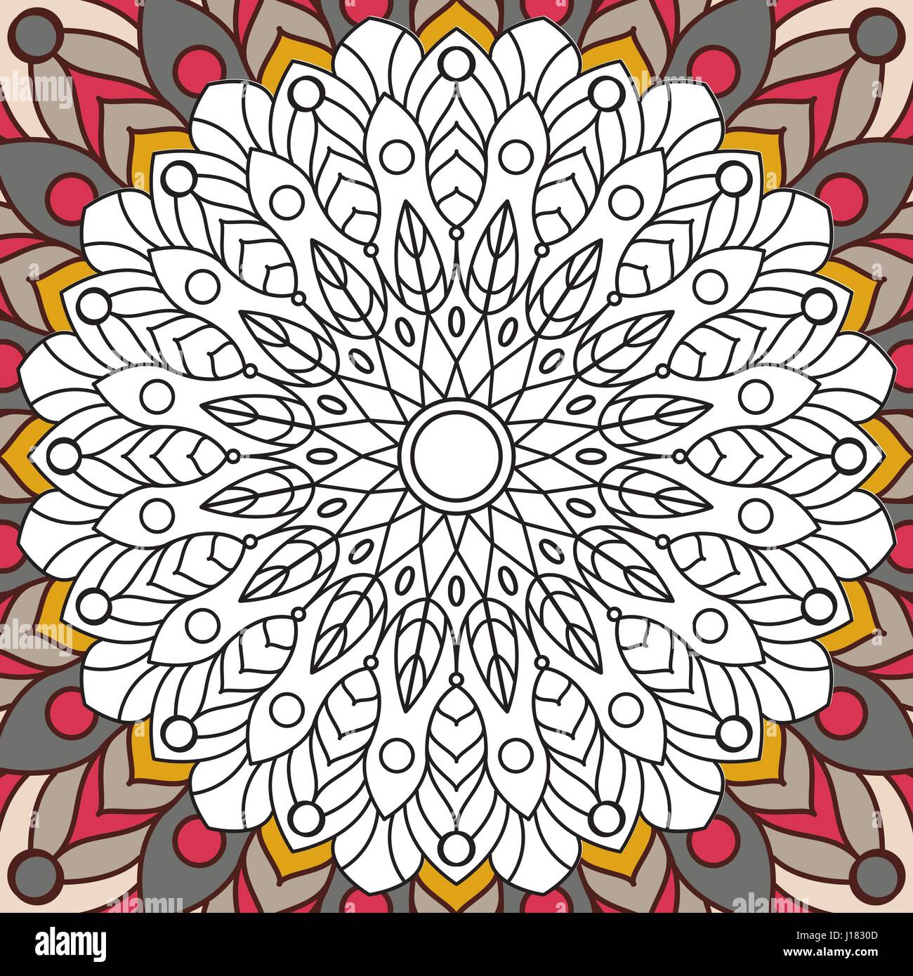 Printable antistress coloring book page for adults - mandala design ...