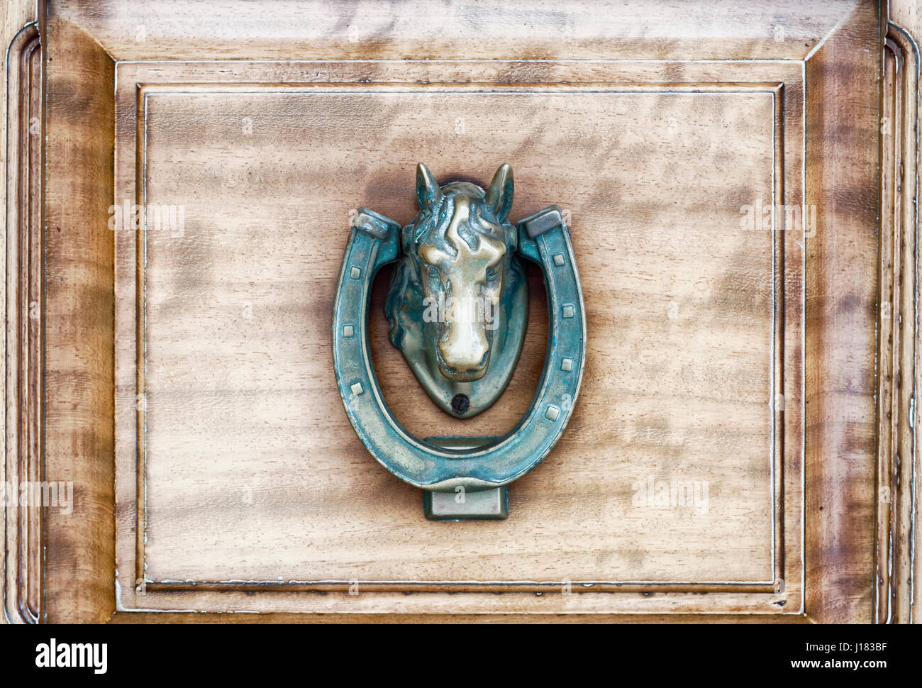 Vintage Antiqued Brass Horse Door Knocker - Stock Image