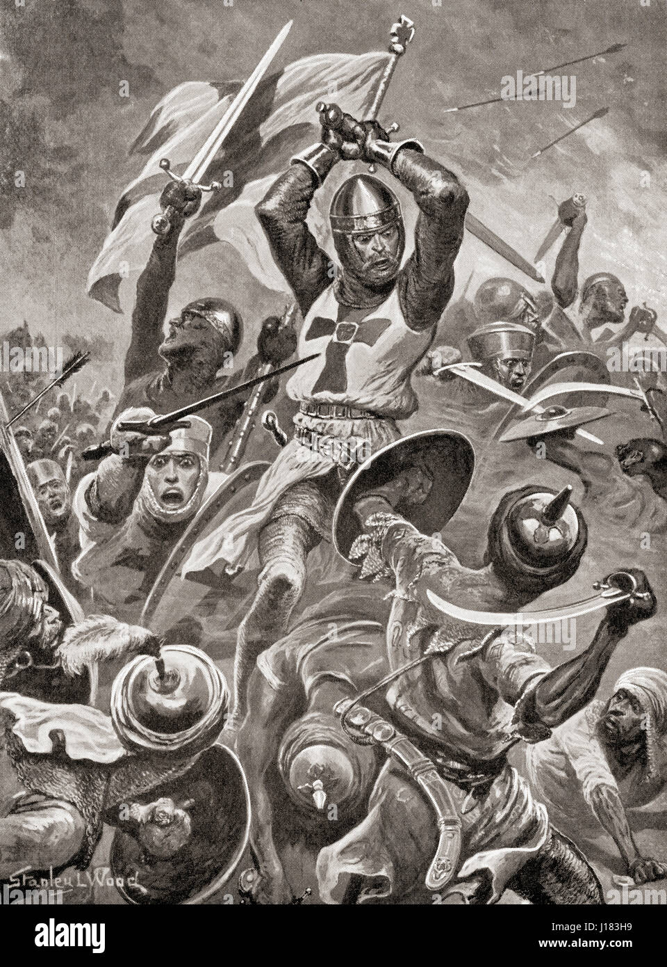 Crusaders storming the city of Tyre, Levant during The Venetian Crusade of 1122–24 .  From Hutchinson's History - Stock Image