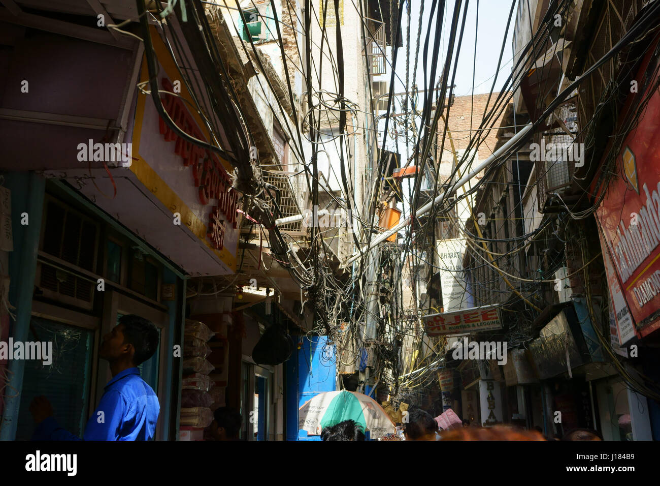 Remarkable Electric Cables Wiring Above Small Street In Old Dehli India Stock Wiring 101 Ferenstreekradiomeanderfmnl