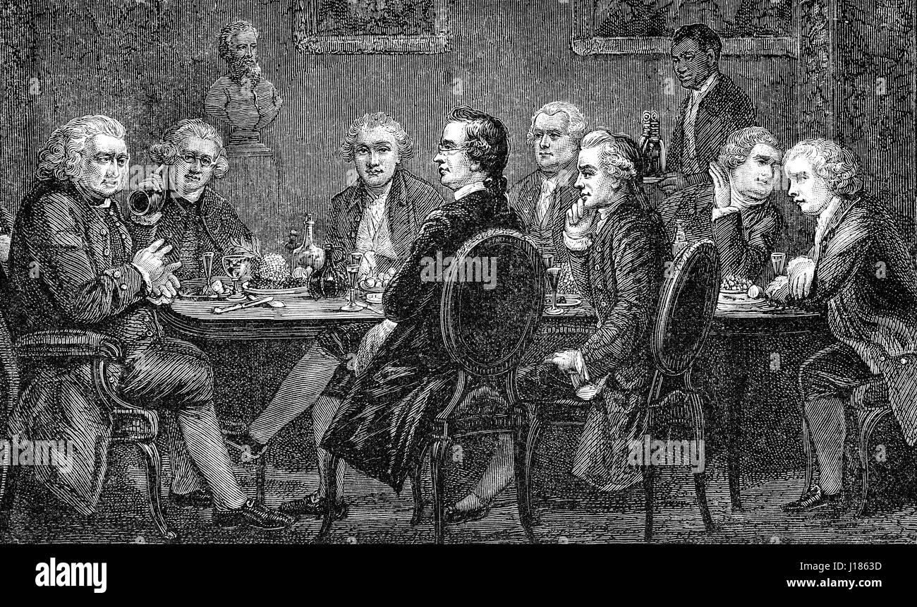 A party at the house of Sir Joshua Reynolds, an English painter - Stock Image