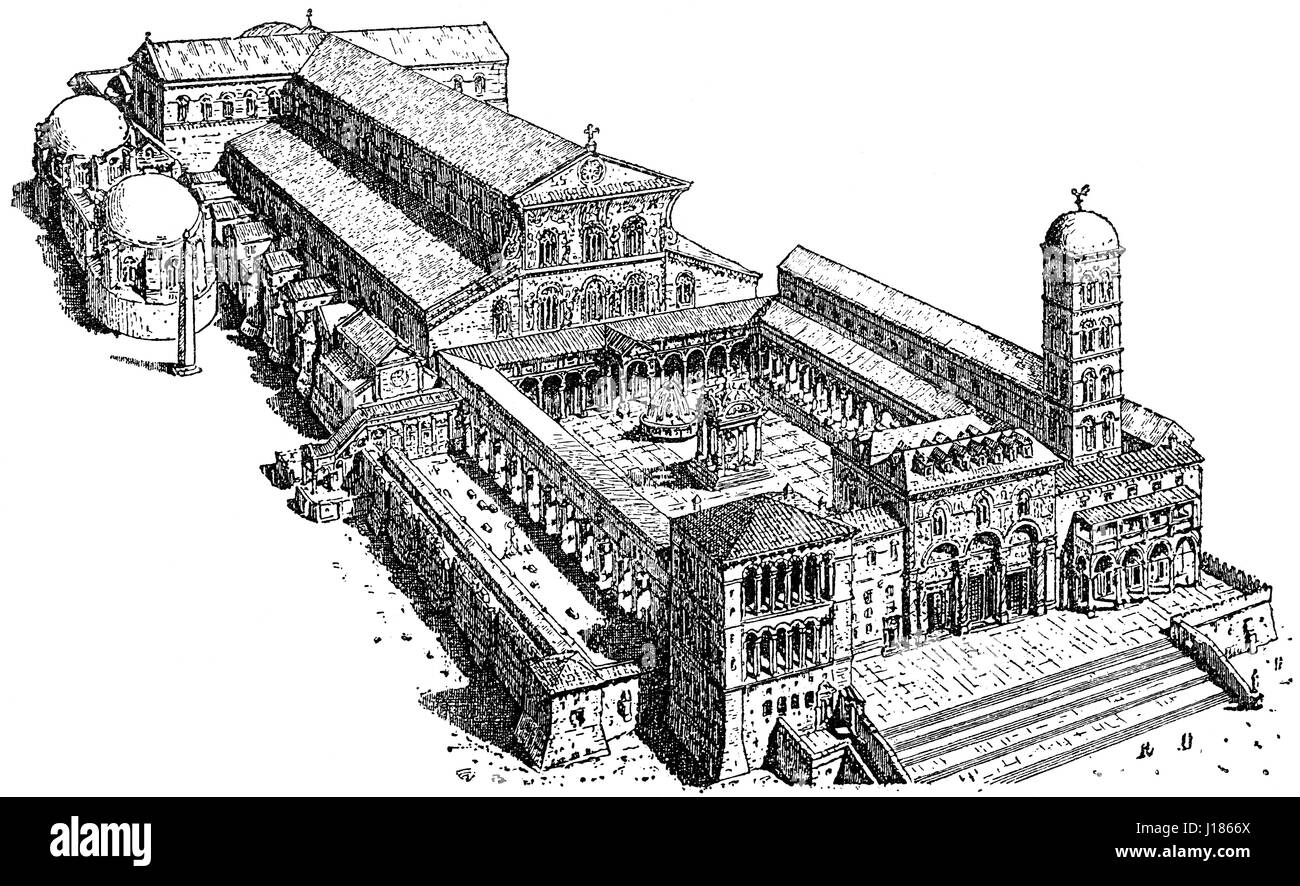 A conjectural view of the Old St. Peter's Basilica, 15th century - Stock Image