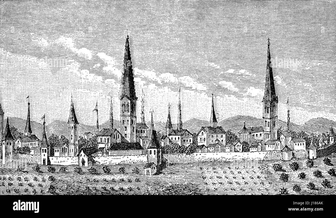 Cityscape of Dortmund, North Rhine-Westphalia, Germany, 16th century - Stock Image