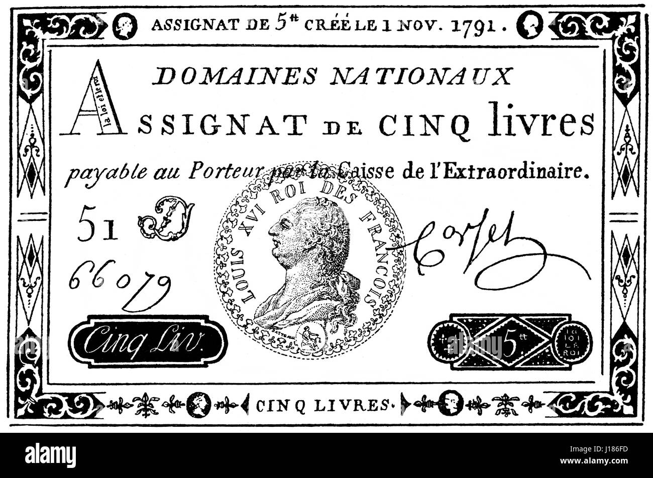 Assignat, monetary instrument used during the time of the French Revolution - Stock Image
