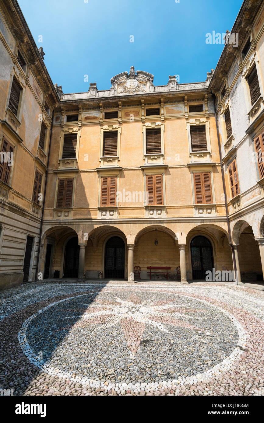 Riva di Solto (Bergamo, Lombardy, Italy), historic village along the lake of Iseo. Palace. - Stock Image