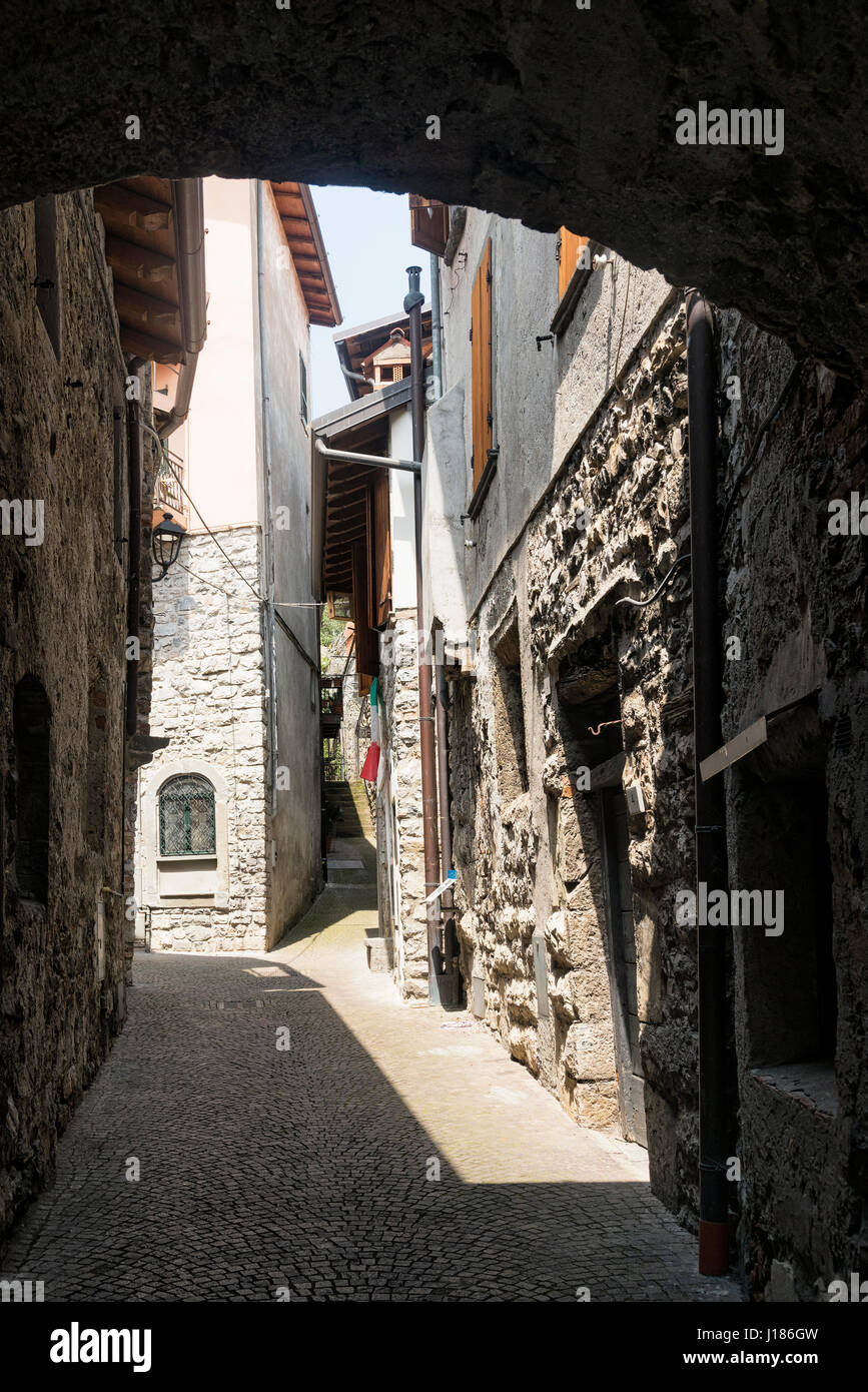 Riva di Solto (Bergamo, Lombardy, Italy), historic village along the lake of Iseo - Stock Image
