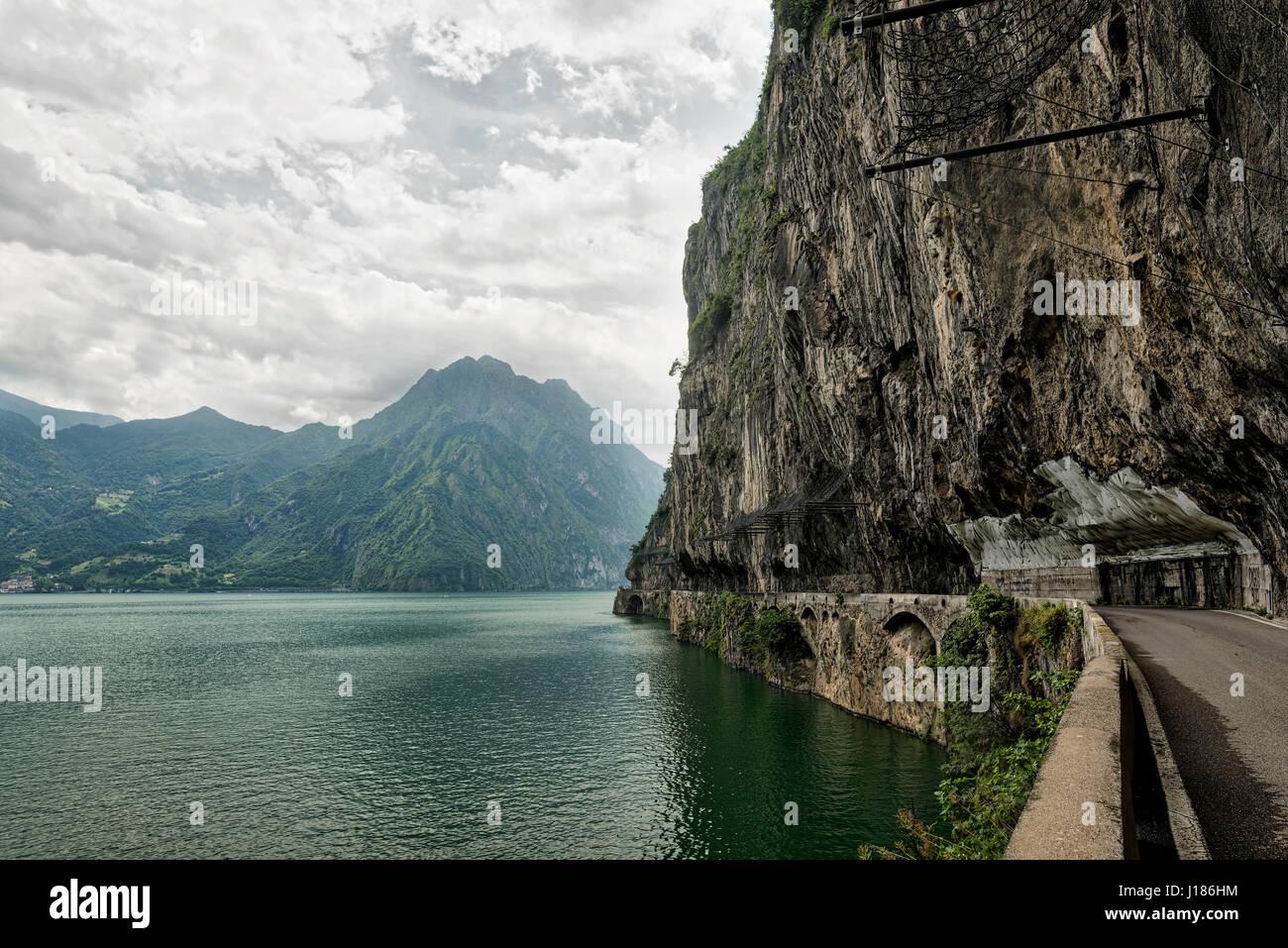 The lake of Iseo near Lovere (Bergamo, Lombardy, Italy) at summer Stock Photo