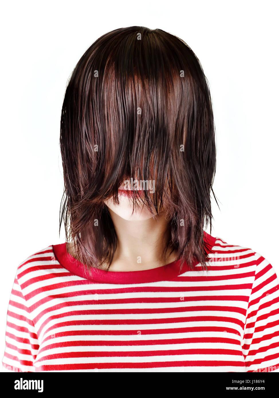 brunette girl in red striped shirt. black straight uncut