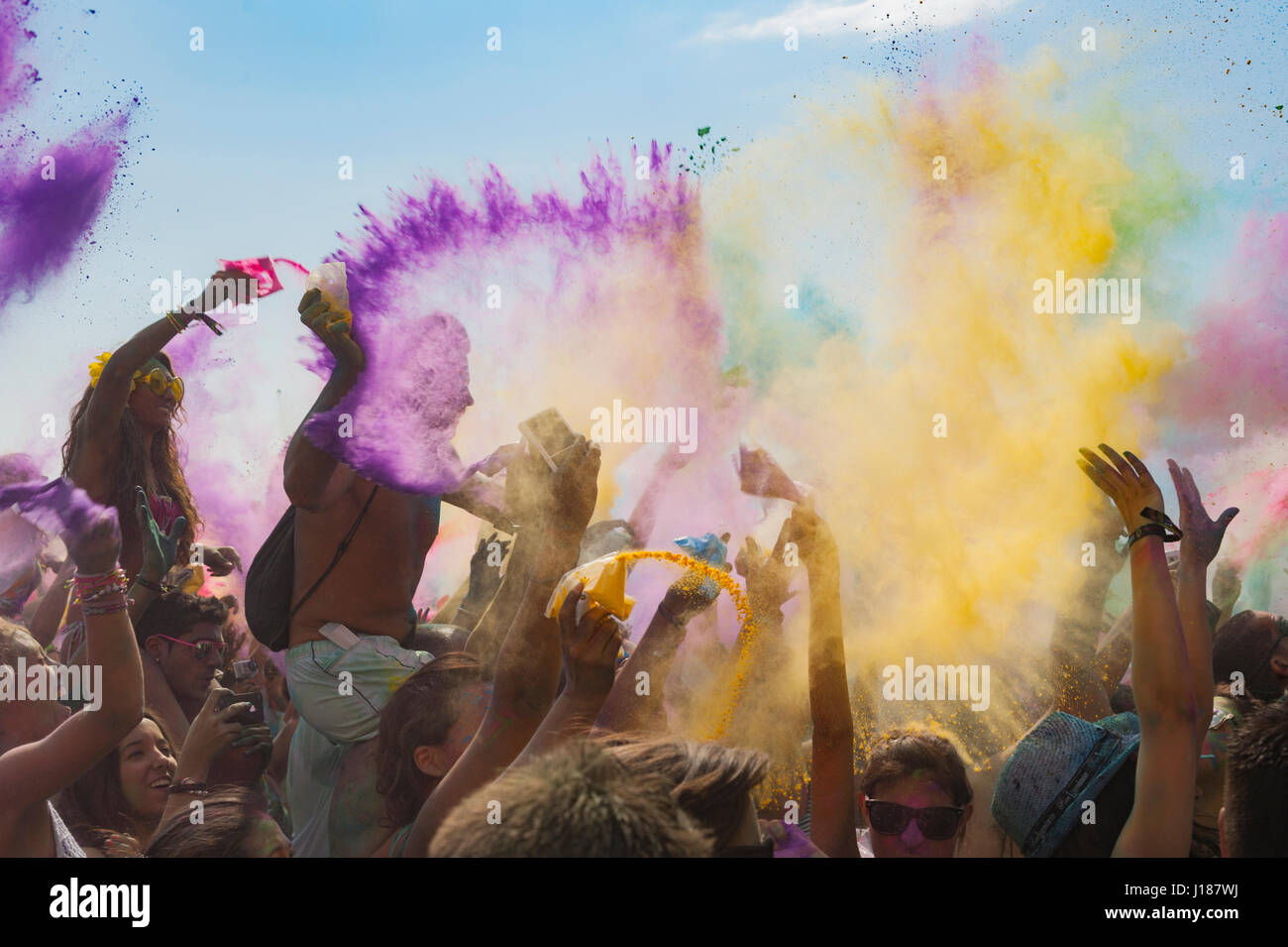 Exploded in a color kaleidoscope when hundreds of Spaniards and tourists celebrated their version of a traditional - Stock Image