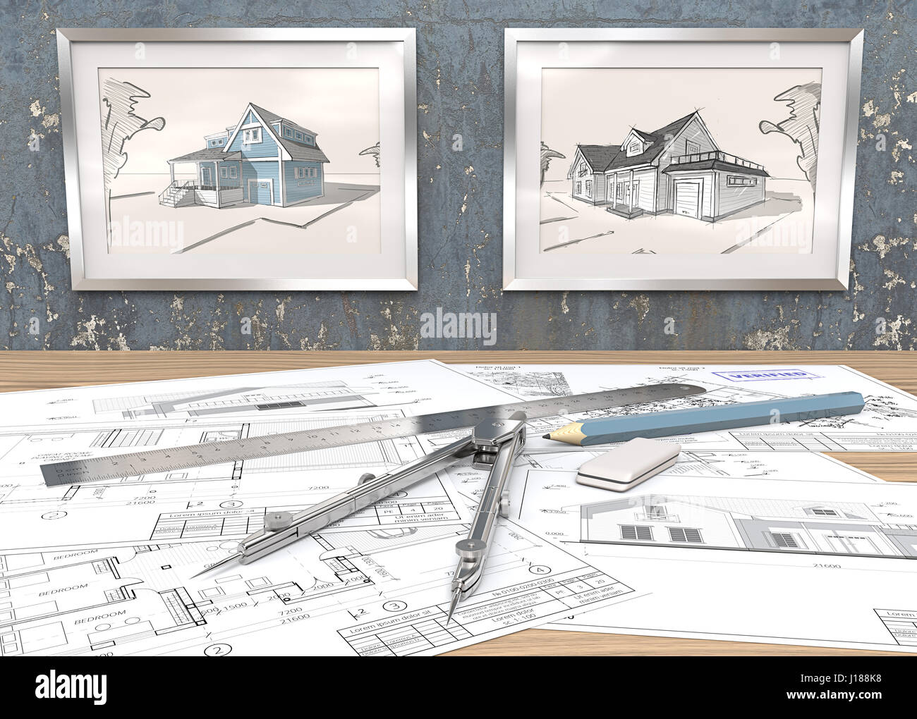 2 metal picture frames on blue worn concrete wall with house stock 2 metal picture frames on blue worn concrete wall with house sketches generic architectural blueprints on table ruler pencil and divider of metal malvernweather Images