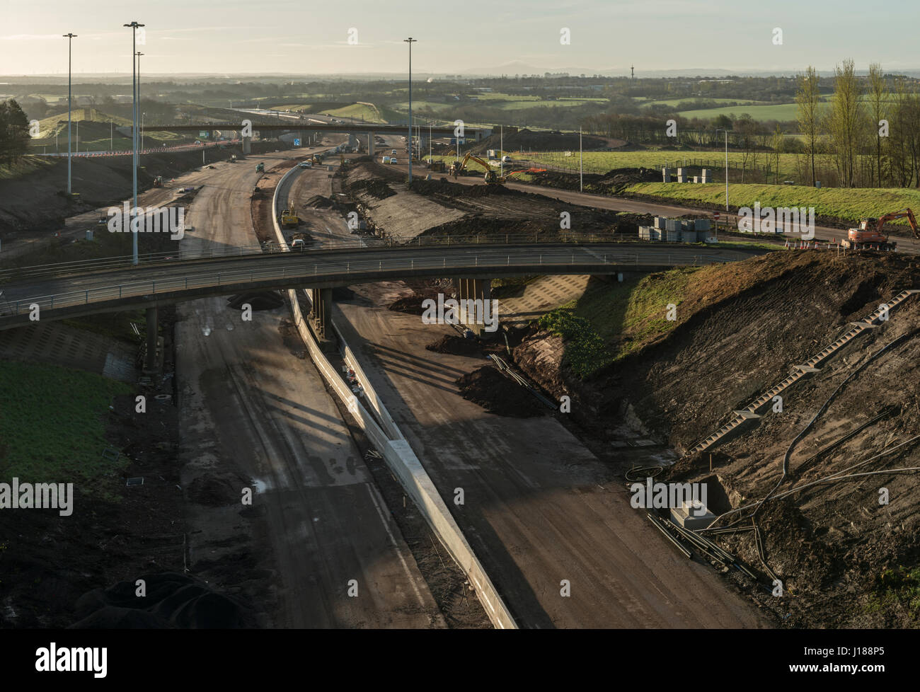M8 missing link construction work, Glasgow, Scotland, United Kingdom - Stock Image