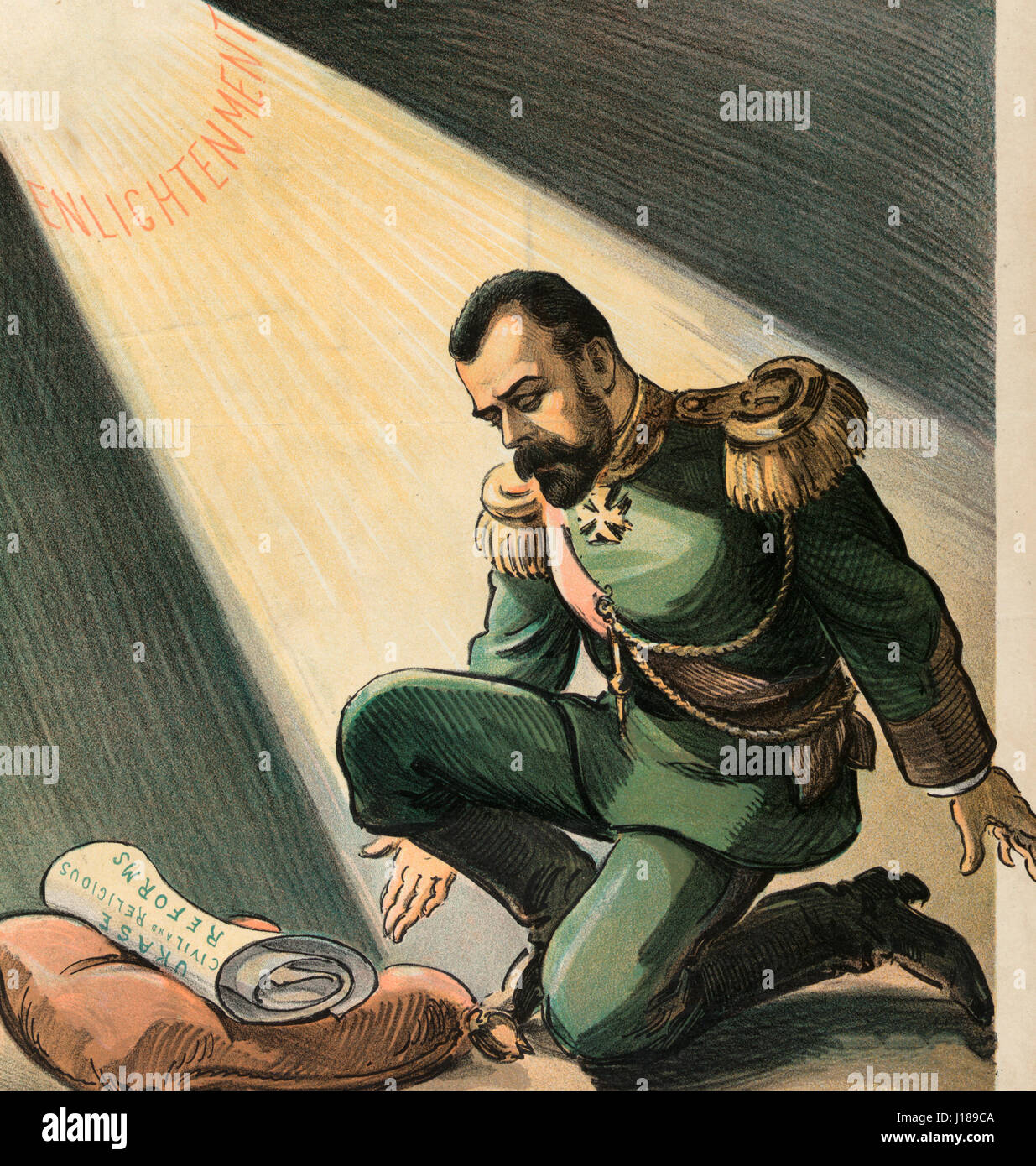 Light in darkest Russia - Illustration shows Nicholas II, Emperor of Russia, kneeling on one knee before a pillow - Stock Image