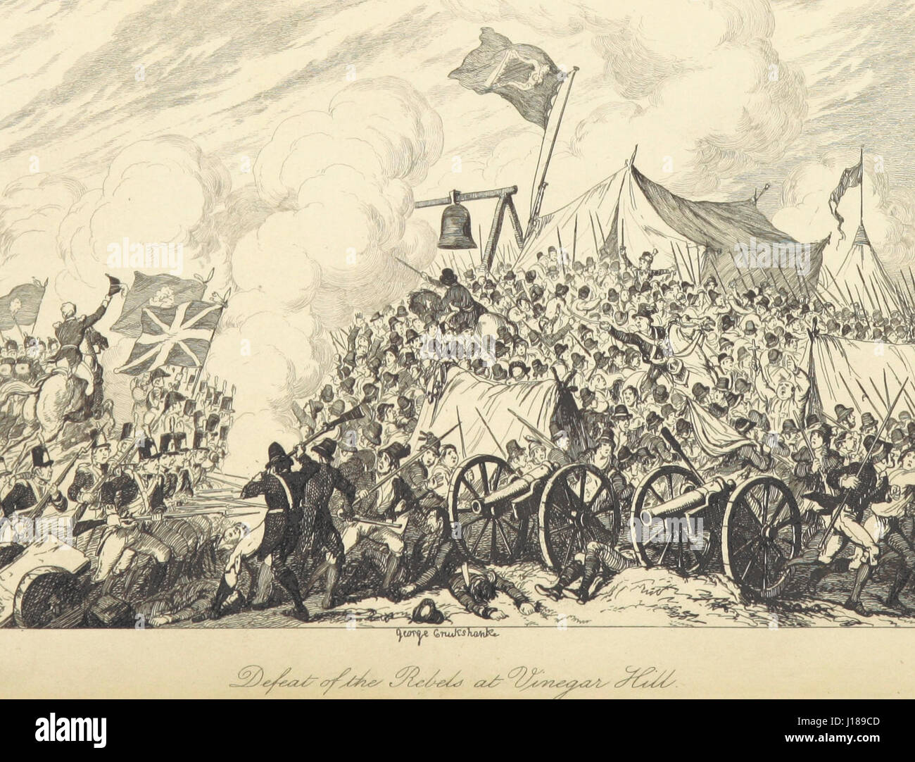 Defeat of the Rebels at Vinegar Hill by George Cruikshank - Enniscorthy, County Wexford - June 21, 1798. Stock Photo