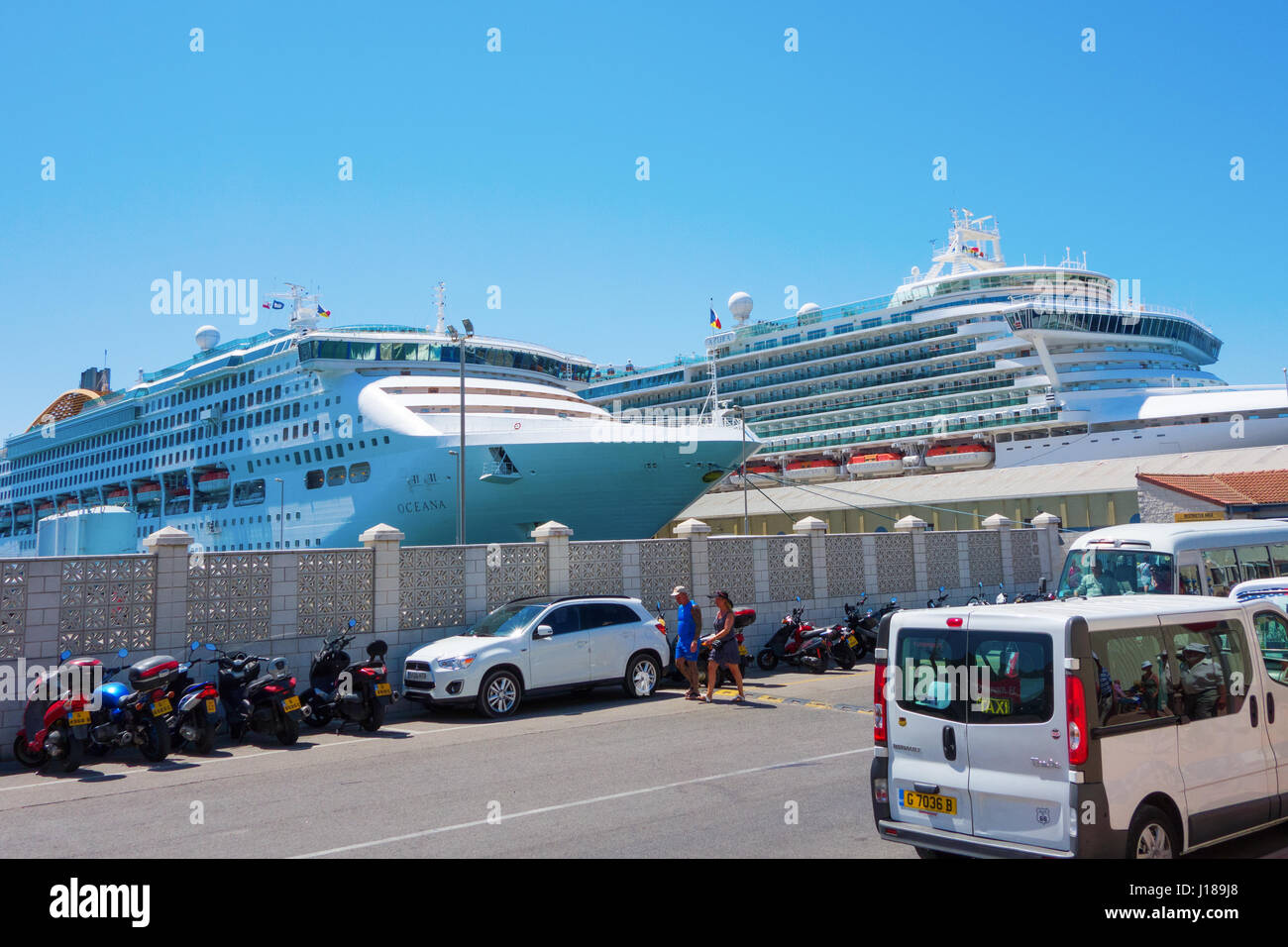 On the Island of Gibraltar. Dockside wit P&O Cruise ships Azura and Oceana - Stock Image