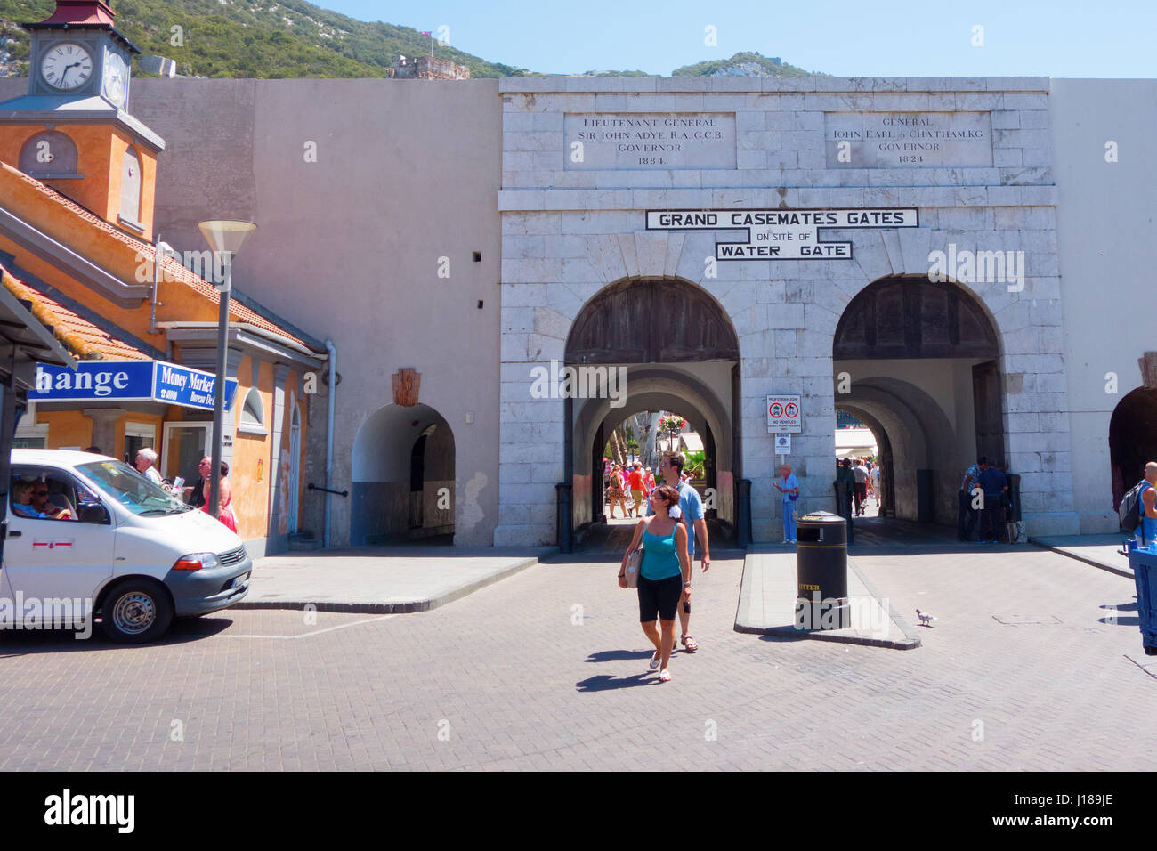 On the Island of Gibraltar. Grand Casemates Gates on site of Water Gate - Stock Image