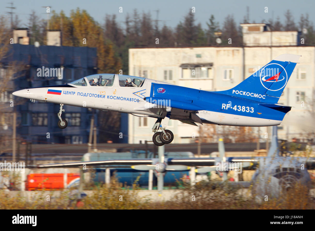 CHKALOVSKY, MOSCOW REGION, RUSSIA - OCTOBER 26, 2013: Aero L-39C Albatros of Roscosmos taking off at Chkalovsky. - Stock Image