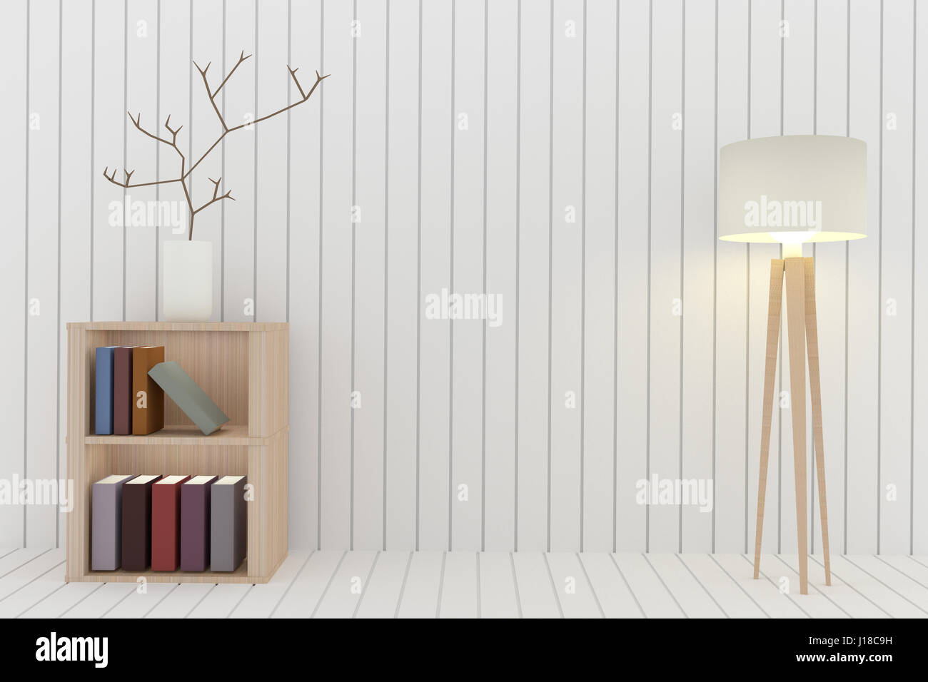 Bookshelf With Lamp Decoration In White Room Design 3D Rendering