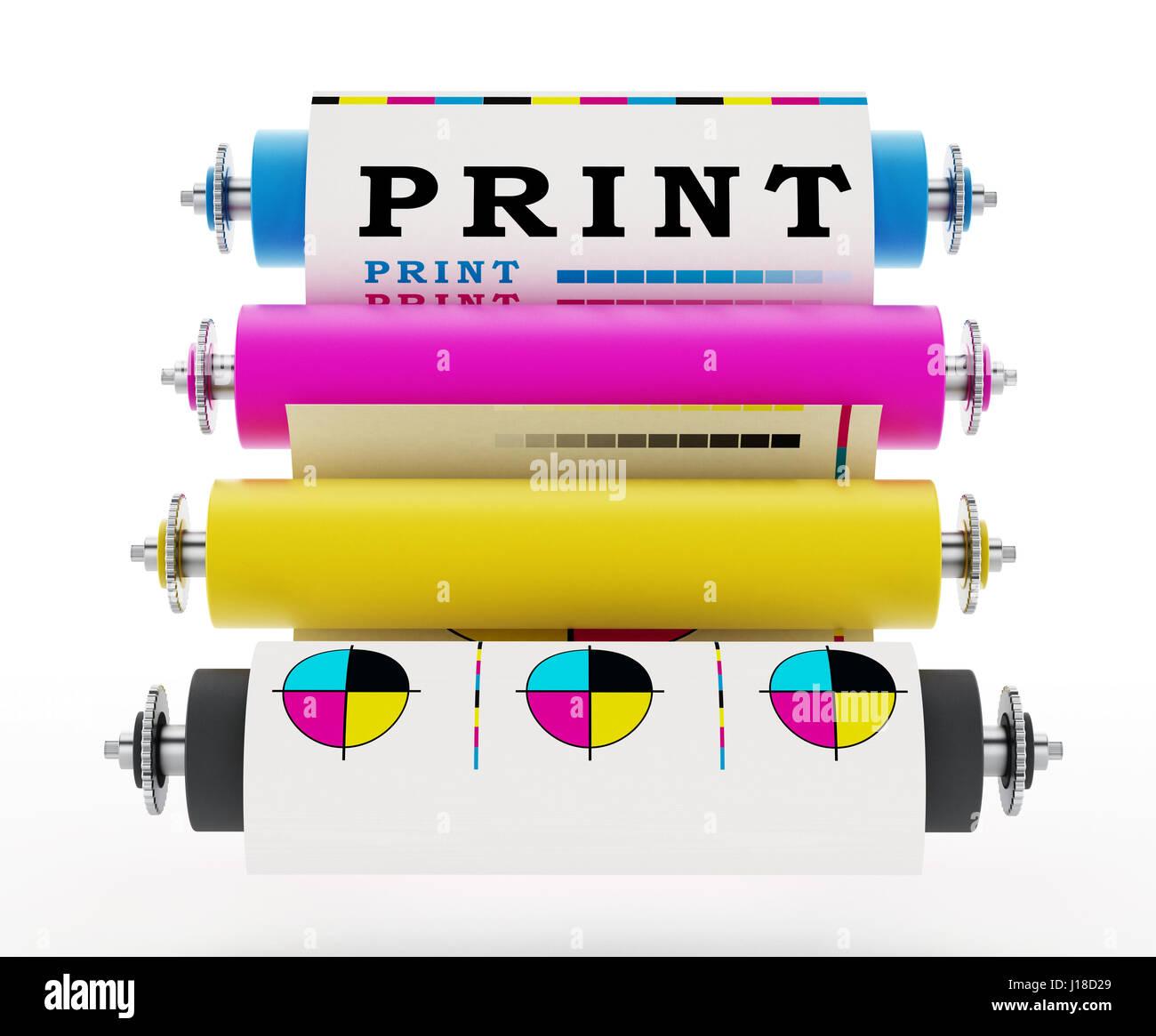 CMYK Printing press with test print. 3D illustration. - Stock Image