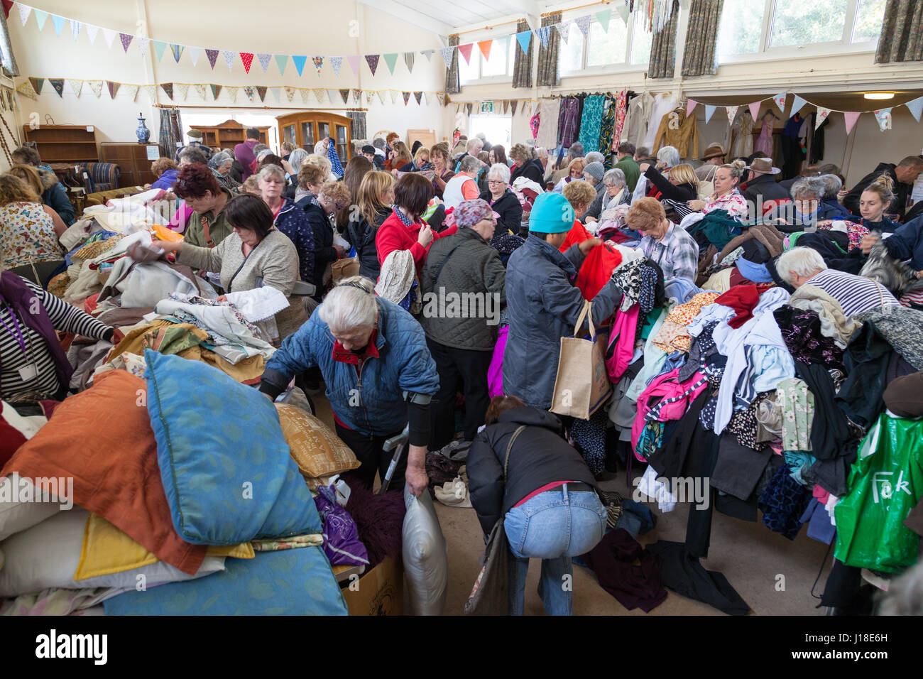 jumble sale, village hall, hamstreet, ashford, kent, uk - Stock Image