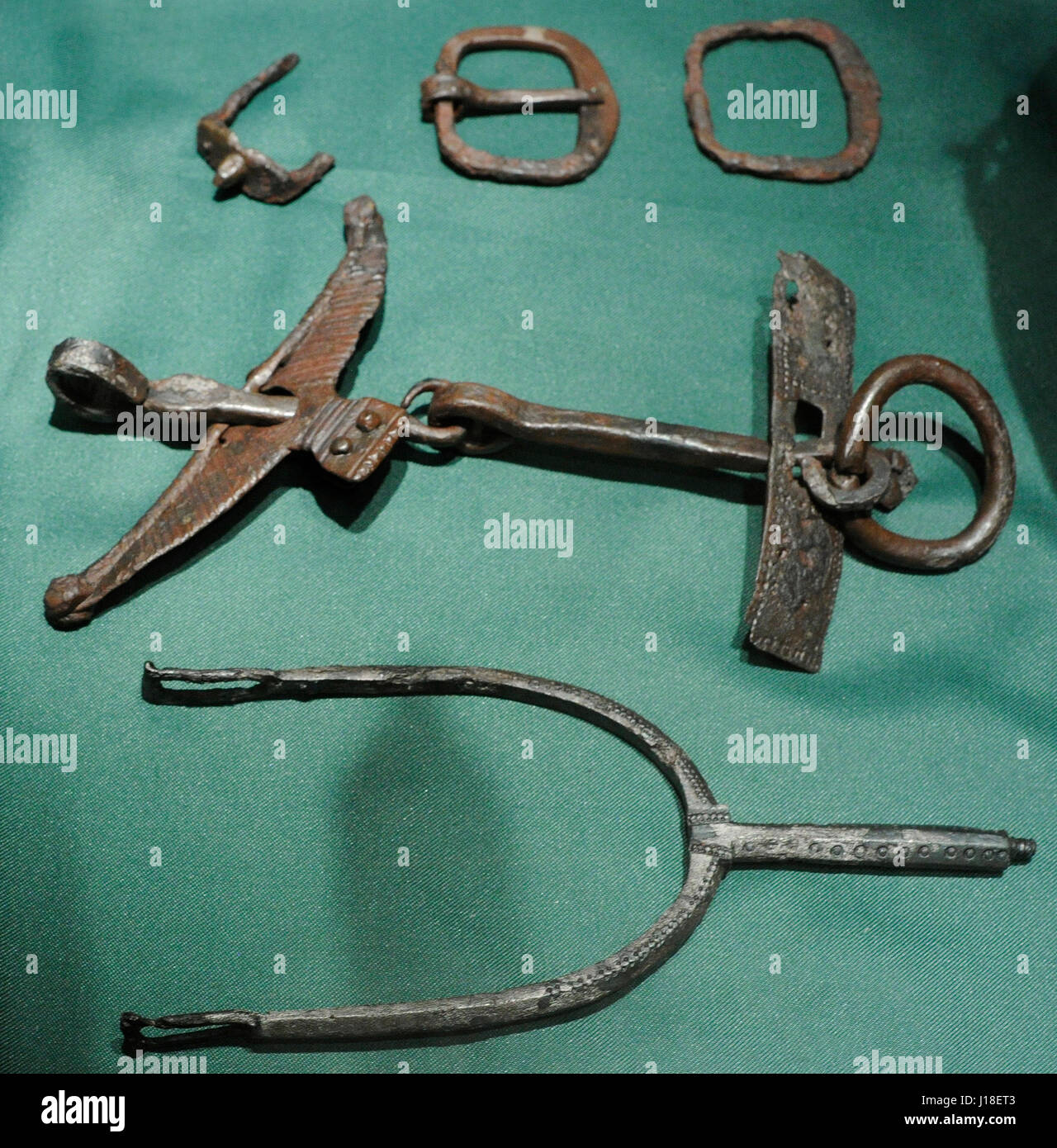 Grave-find from Asak, Skedsmo k., Akershus, 10th century. Crampon, 2 buckles, horse-bit. Norway. Historical Museum. Stock Photo
