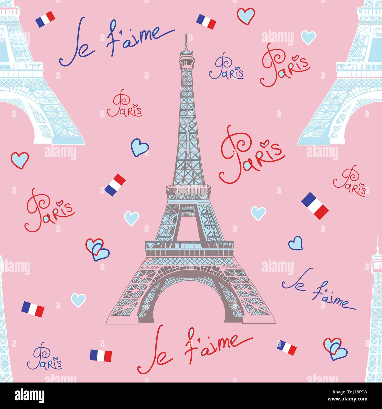 Seamless vector pattern with hand drawing white and grey Eiffel tower, inscriptions on blue background - Stock Vector