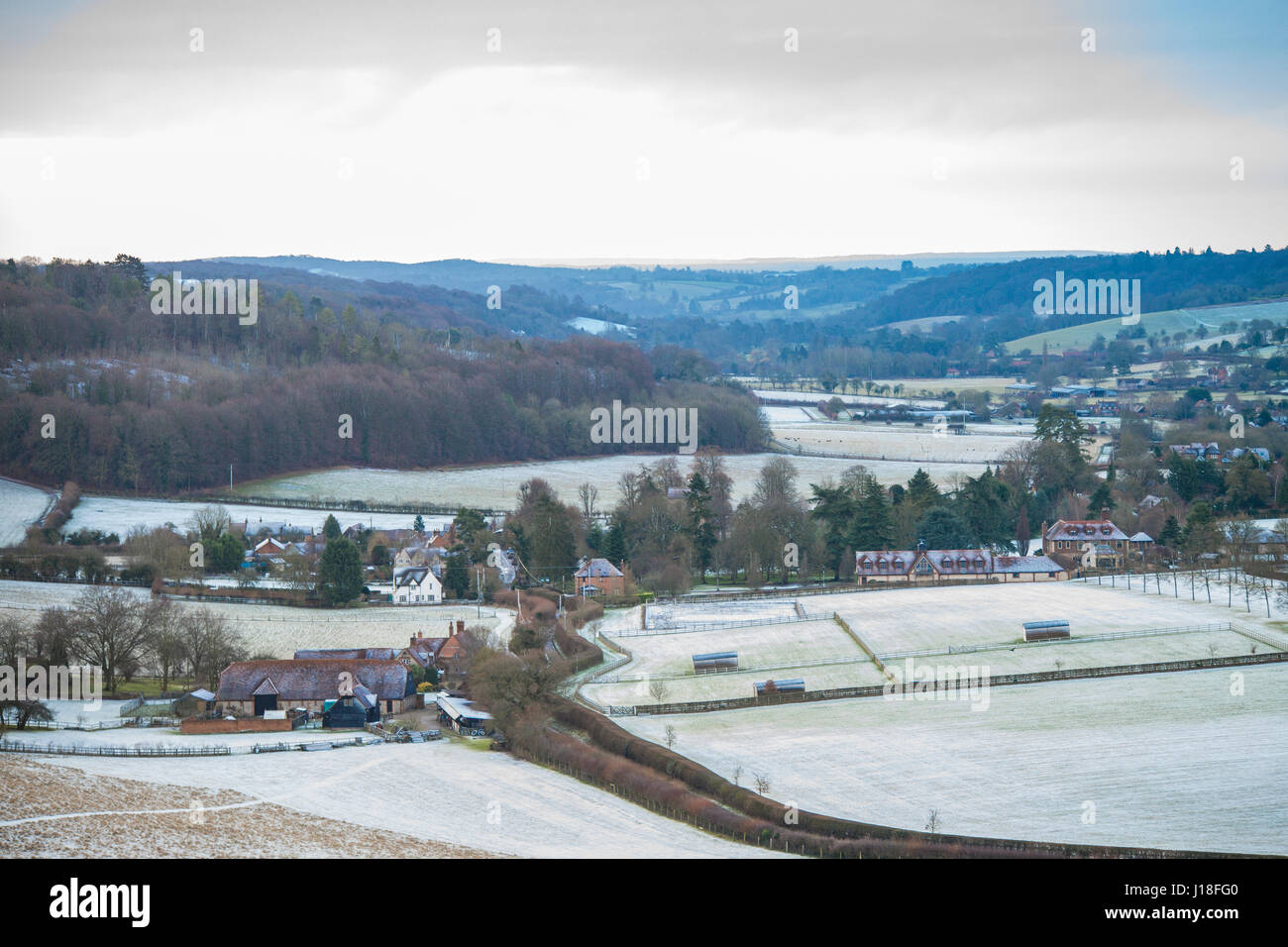 Hambleden Valley, covered in a light dusting of snow, viewed from the North looking towards the Thames Valley - Stock Image