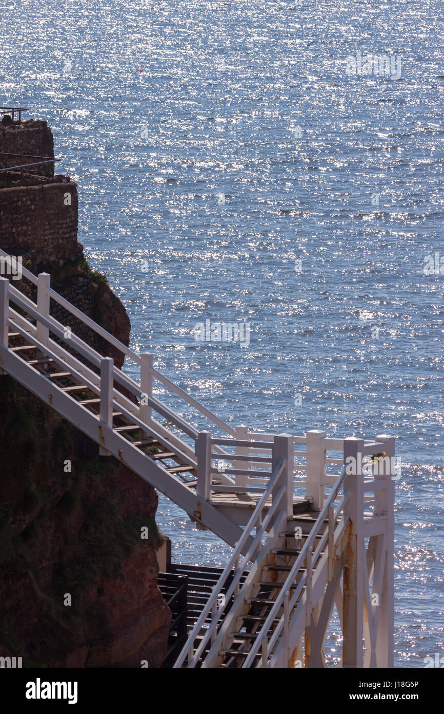 Jacob's Ladder in Sidmouth which provides glorious sea views, and  a  link from the beautiful Connaught Gardens - Stock Image