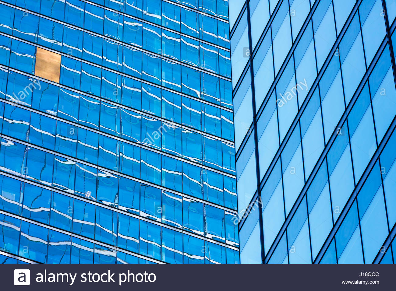Temporary repair of broken window on office building on Bay street financial district in Toronto Ontario Canada - Stock Image
