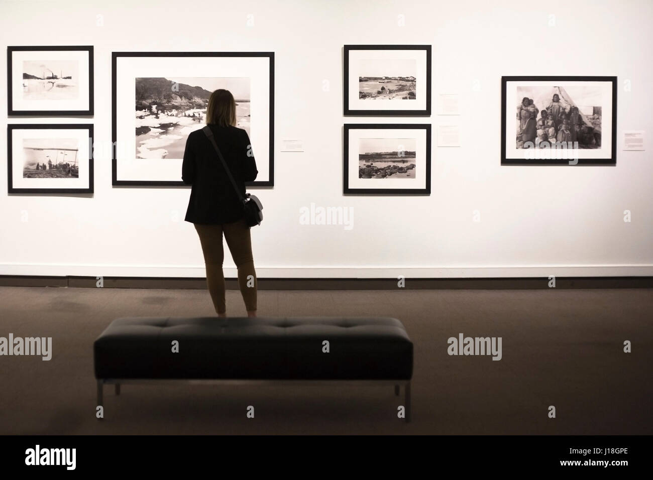 Woman looking at the Glenbow museum exhibit 'North of Ordinary, The Arctic photographs of Geraldine and Douglas - Stock Image