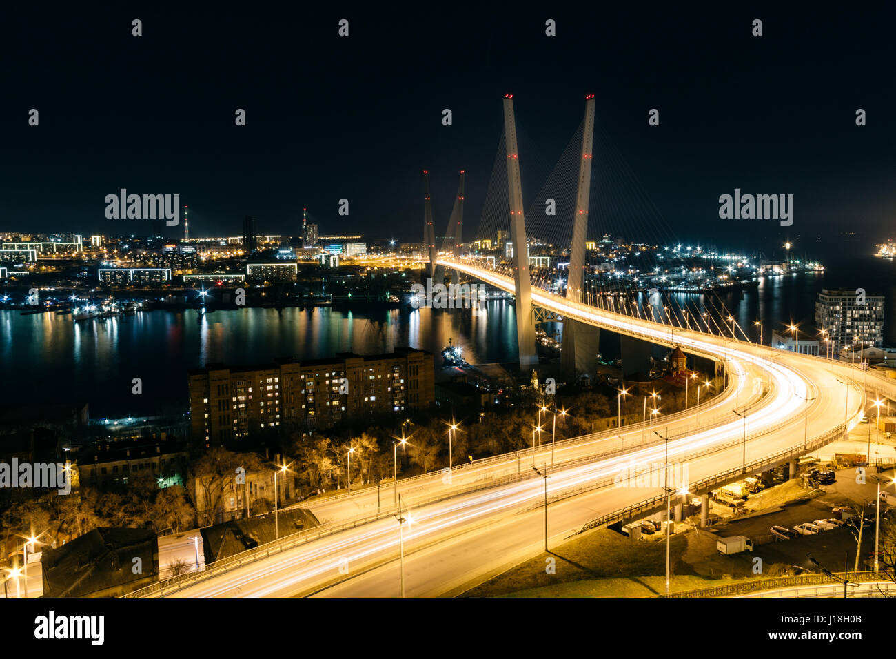 The bridge across Zolotoy Rog (Golden Horn) Bay in Vladivostok, Russia. - Stock Image