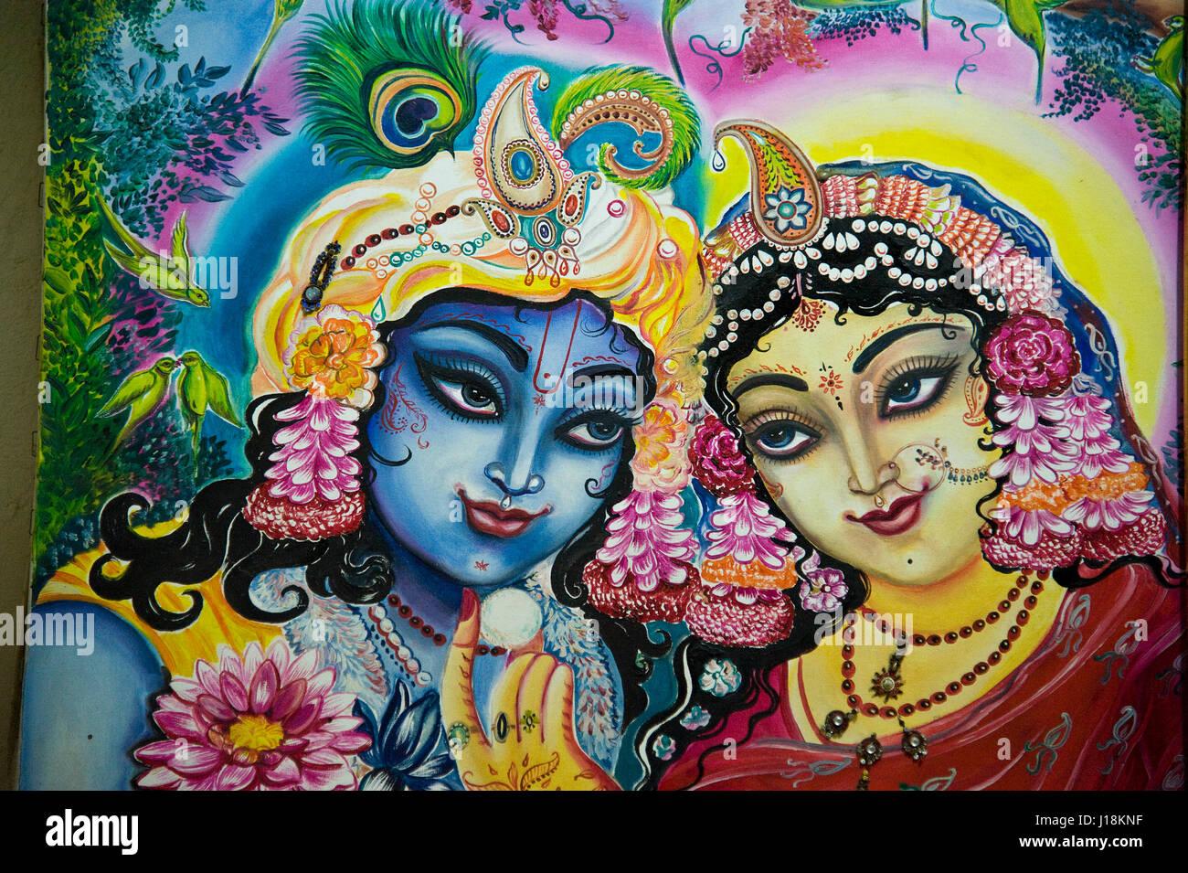 Radha Krishna Painting Mathura Uttar Pradesh India Asia