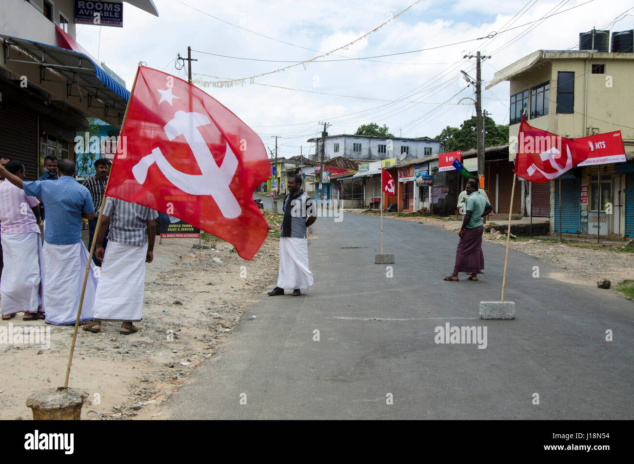 Communist party workers blocked the road, vagamon, kerala, india, asia - Stock Image