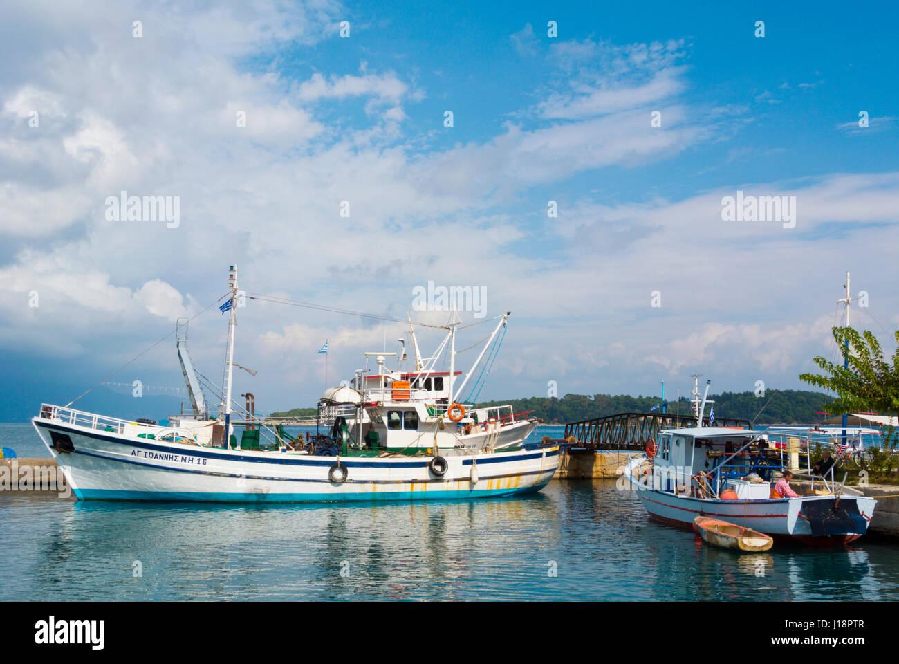 Old harbour, Corfu town, Kerkyra, Corfu Island, Ionian islands, Greece - Stock Image