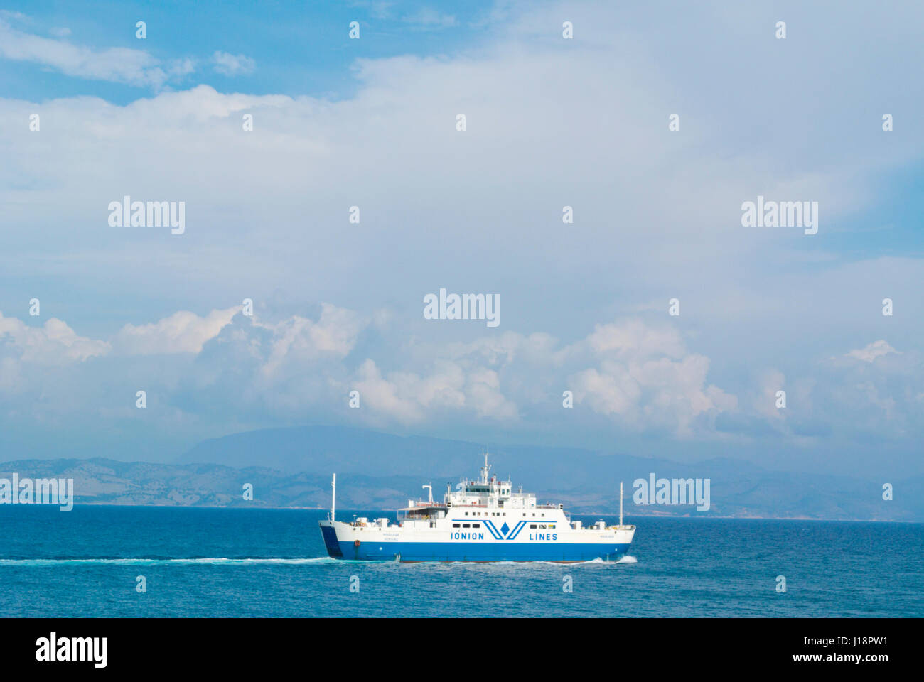 Ionian lines ferry, to Igoumenitsa, in front of Corfu town, Kerkyra, Corfu Island, Ionian islands, Greece Stock Photo