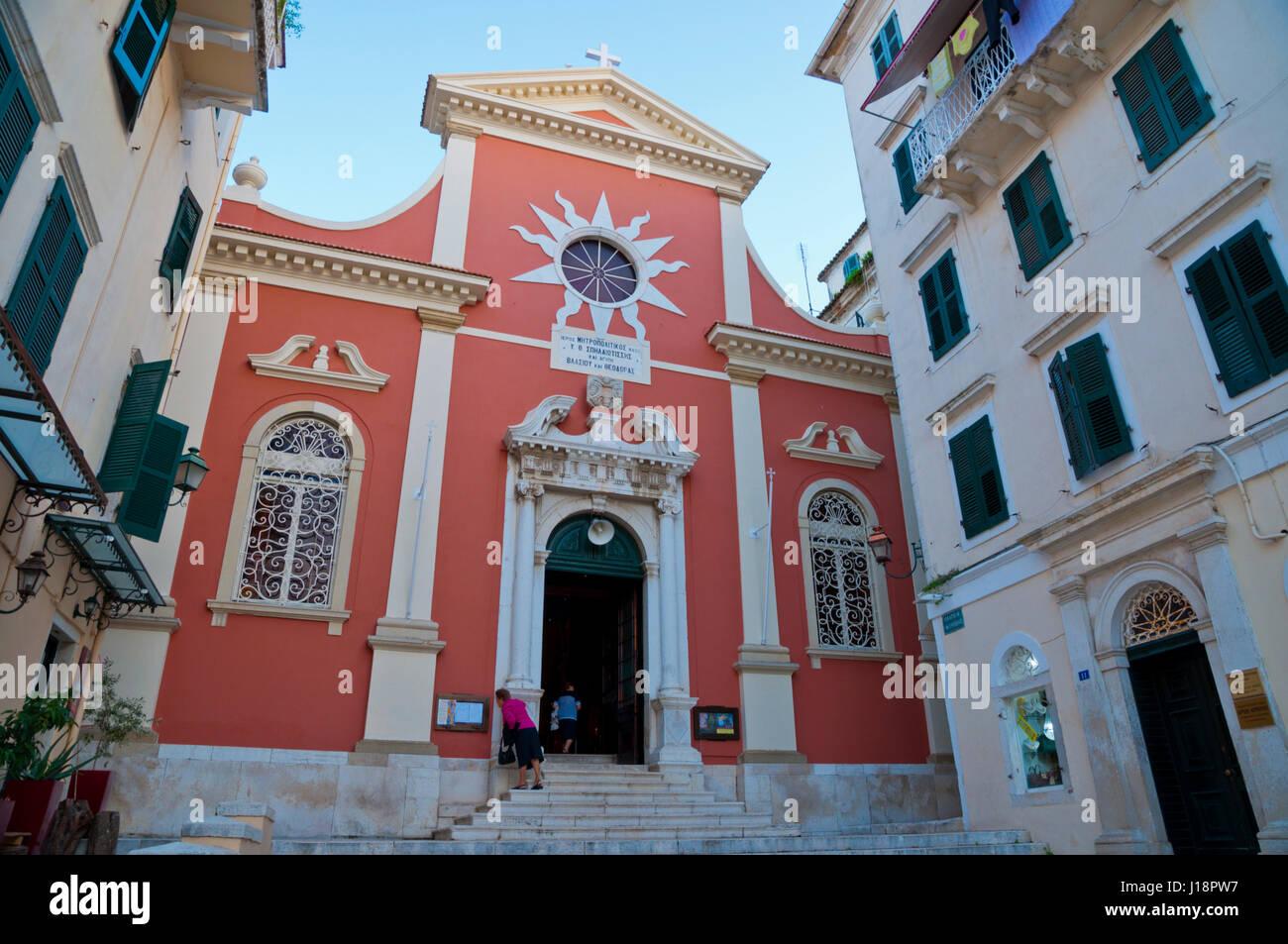 Metropolitan church Panaghia Spiliotissa, Old town, Corfu town, Kerkyra, Corfu Island, Ionian islands, Greece - Stock Image