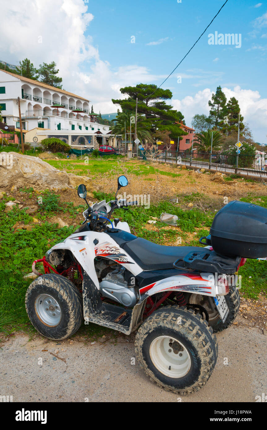 Quad bike, Paleokastritsa, western Corfu, Kerkyra, Ionian islands, Greece Stock Photo