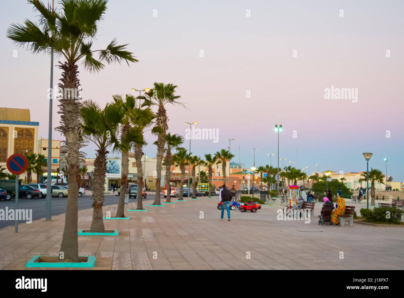Seaside promenade, Dakhla, Western Sahara, administered by Morocco, Africa - Stock Image