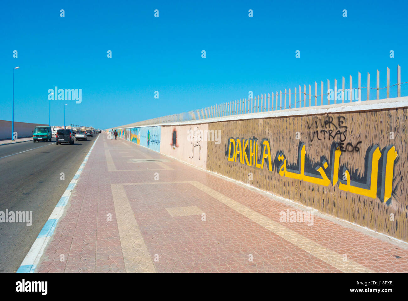 Boulevard Hassan II, going past the airport, Dakhla, Western Sahara, administered by Morocco, Africa - Stock Image