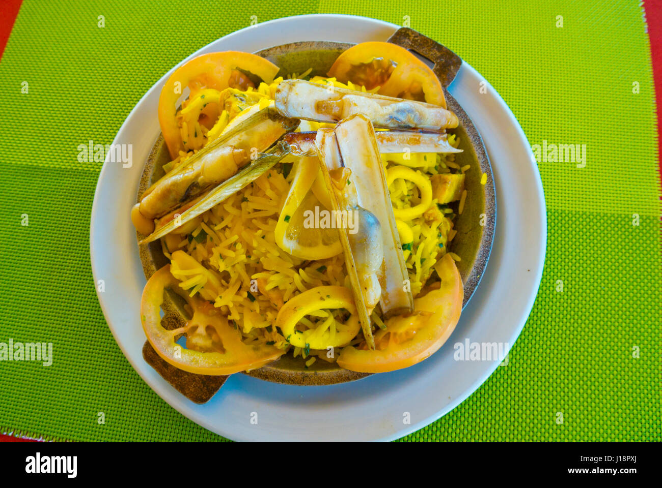 Seafood paella, Dakhla, Western Sahara, administered by Morocco, Africa - Stock Image