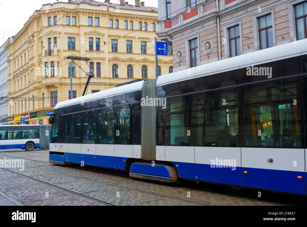 tra and trolley bus, krisjana barona iela, centrs, riga, latvia