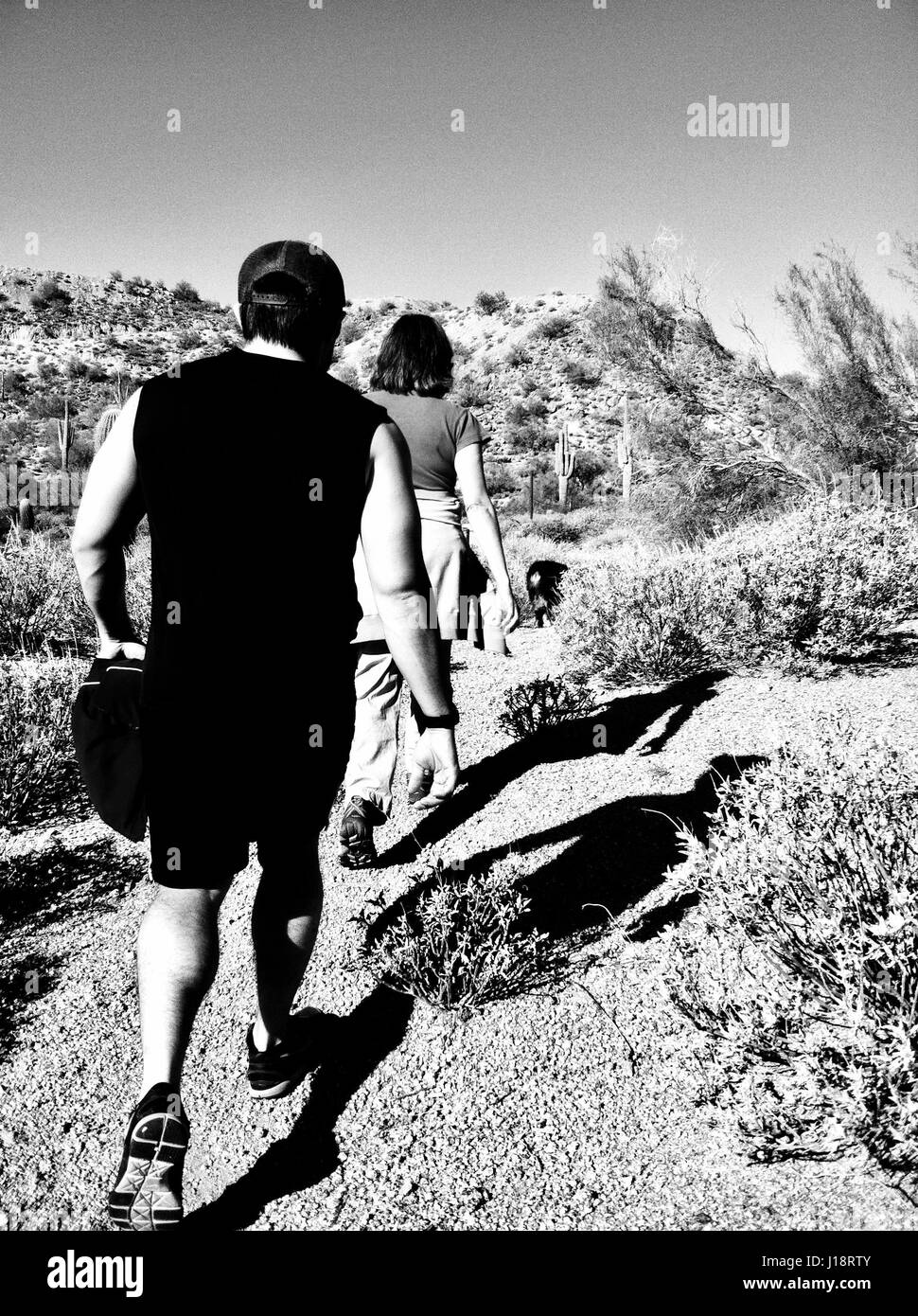 Black and white trail hiking - Stock Image