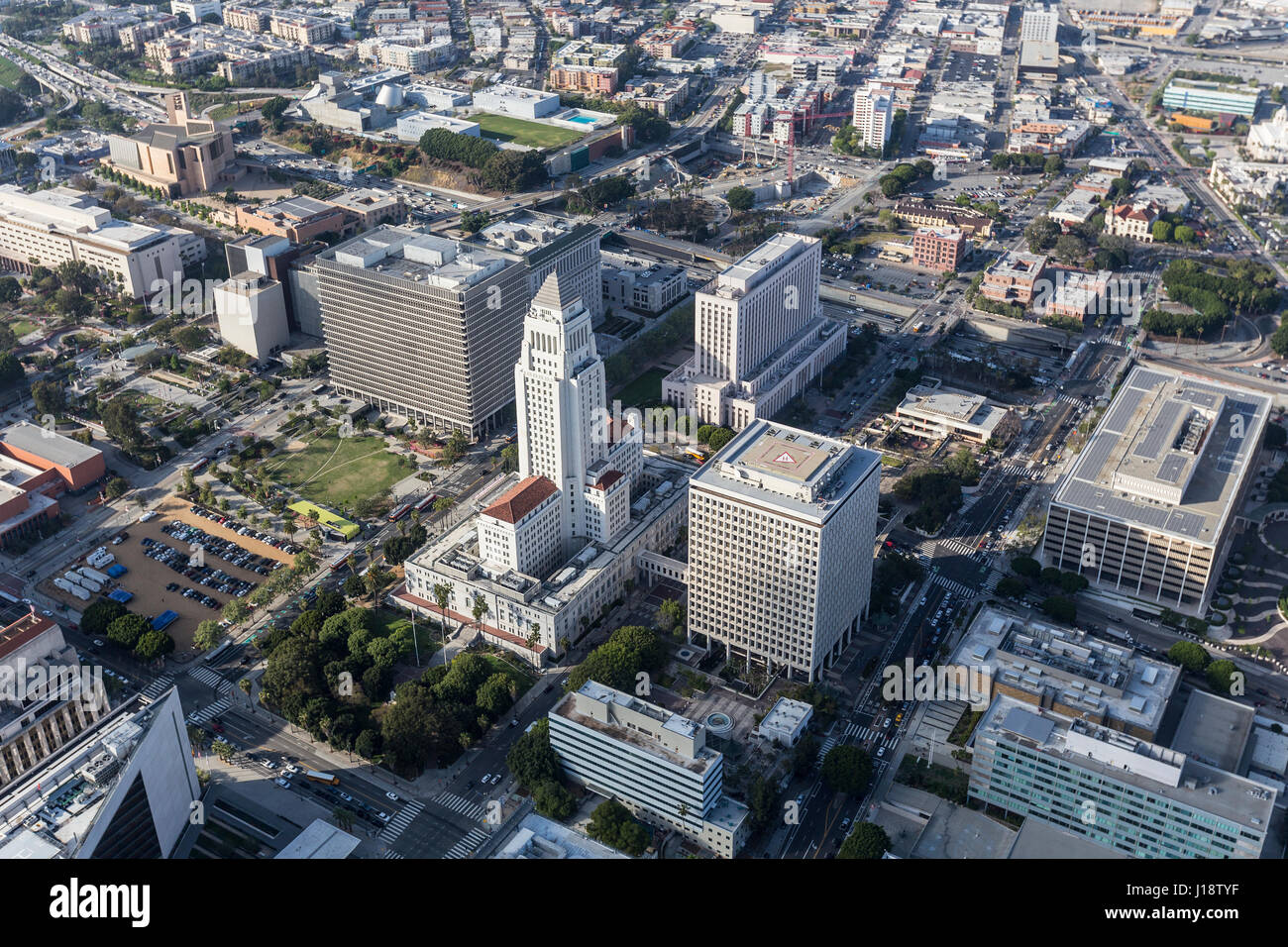 Afternoon aerial view of Los Angeles Civic Center and City Hall buildings. - Stock Image