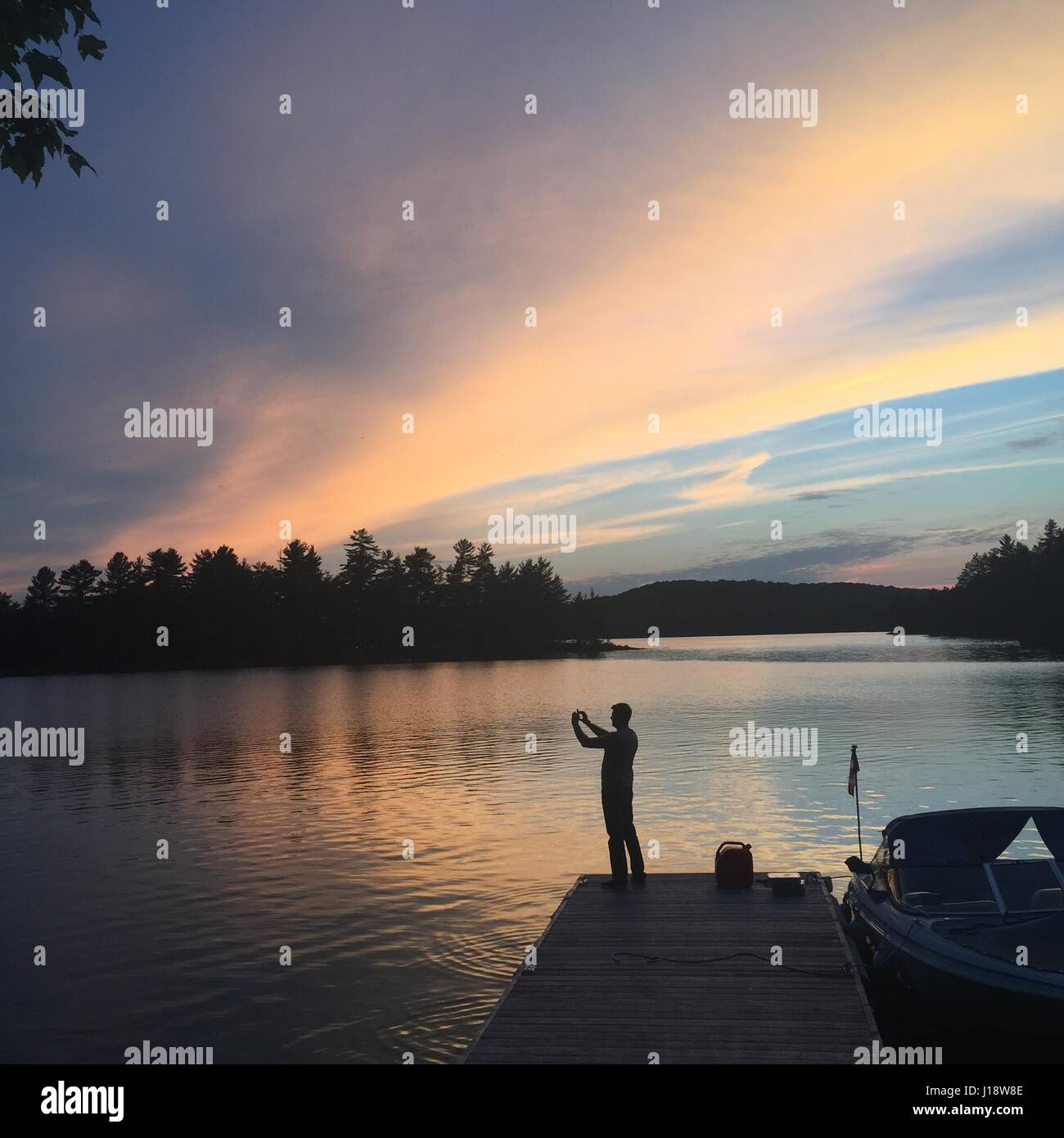 Cottage country at sunset - Stock Image