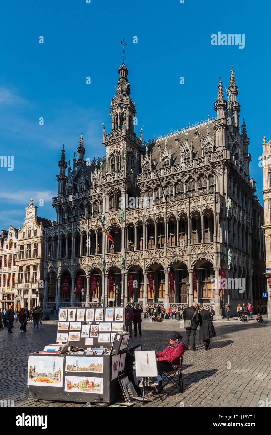 Maison du Roi building, Grand Place, Brussels, Belgium - Stock Image
